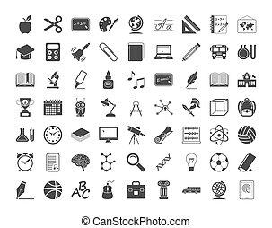 educação, ícones