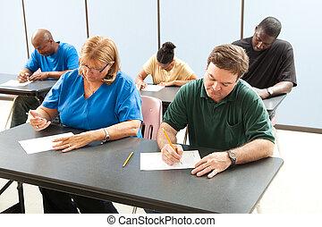 educação adulta, -, levando, teste