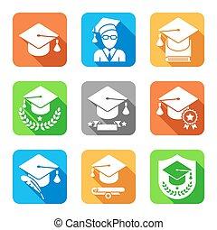 educação, apartamento, ícones, jogo