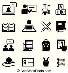 educação, aprendizagem, e, apoie escola, ícones