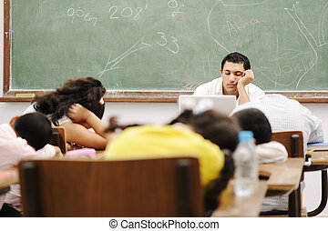 educação, atividades, em, sala aula, em, escola, dormir, tudo
