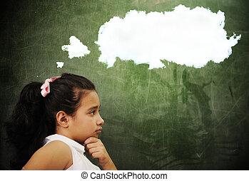 educação, atividades, em, sala aula, em, escola, esperto, menina, pensando, espaço cópia