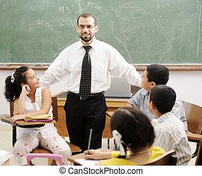 educação, atividades, em, sala aula, em, escola, feliz, crianças, aprendizagem