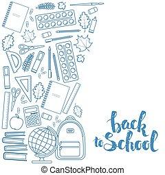 educação, borda, lado, vertical, ícones