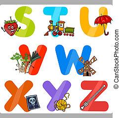 educação, caricatura, alfabeto, letras, para, crianças