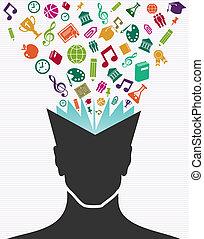 educação, coloridos, ícones, cabeça humana, book.
