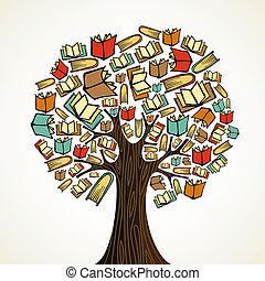 educação, conceito, árvore, com, livros