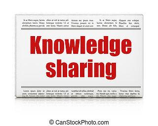 educação, concept:, manchete jornal, conhecimento,...