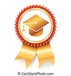 educação, distinção, medalha, ícone
