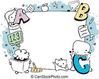 educação, doodle, quadro