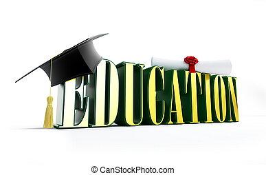 educação, e, boné graduação