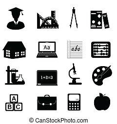 educação, e, escola, ícone, jogo