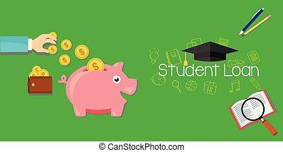 educação, empréstimos, estudante, dívida