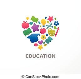 educação, escola, ícone, estudante, aprendizagem