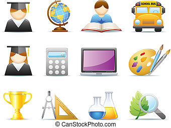 educação, /, escola, ícones, jogo