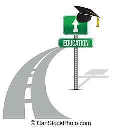 educação, estrada, ilustração