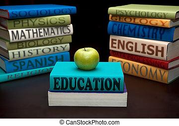 educação, estudo, livros, e, maçã