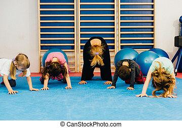 educação física, para, pequeno, crianças