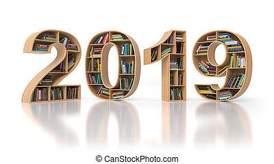 educação, forma, texto, concept., livros, 2019, ano, novo, bookshelvs, 2019.
