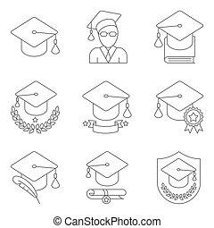 educação, jogo, ícones