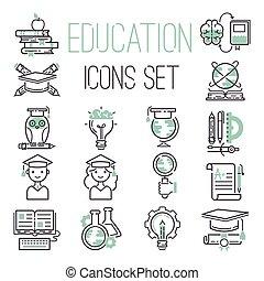 educação, jogo, vector., ícones