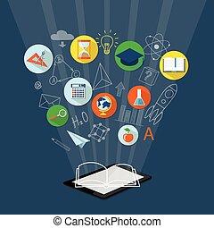 educação, linha, bandeira, e-livro