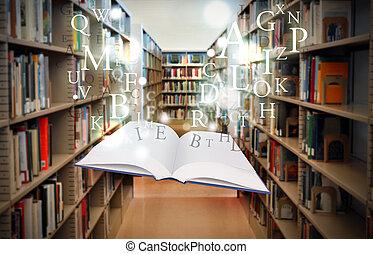educação, livro biblioteca, flutuante, com, letras