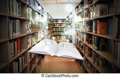 educação, livro biblioteca, flutuante, inteligência