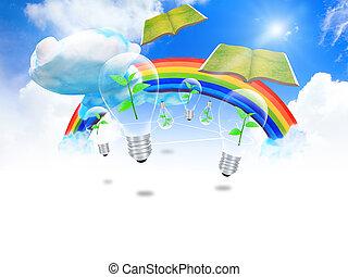 educação, livros, idéia, conceito, voando