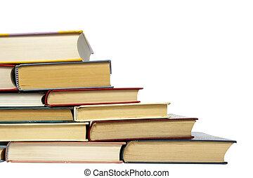educação, livros, pilha