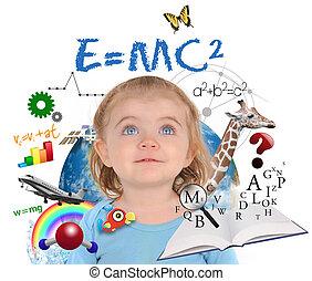 educação, menina escola, aprendizagem, branco