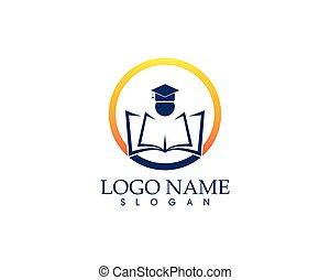 educação, modelo, desenho, vetorial, logotipo