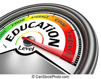 educação, nível, conceitual, medidor