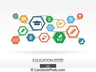 educação, network., hexágono, abstratos, fundo