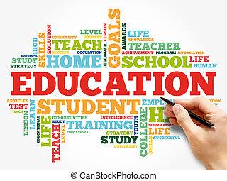 educação, nuvem, colagem, palavra