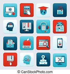 educação, online, ícones