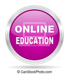 educação online, cor-de-rosa, modernos, projeto teia, lustroso, círculo, ícone