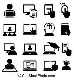 educação online, e, aprendizagem, ícones