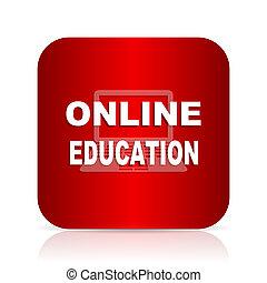 educação online, quadrado vermelho, modernos, desenho, ícone