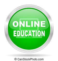 educação online, verde, modernos, desenho, teia, lustroso, ícone