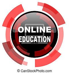 educação online, vermelho, modernos, teia, ícone