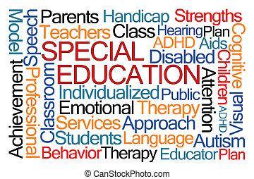 educação, palavra, especiais, nuvem