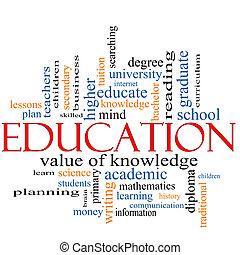 educação, palavra, nuvem, conceito