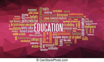 educação, palavra, nuvem, conceito, ilustração, vetorial
