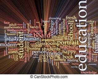 educação, palavra, nuvem, glowing