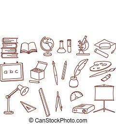 educação, relatado, ícones