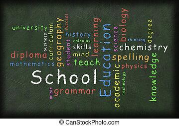 educação, relatado, palavra, nuvem, ilustração