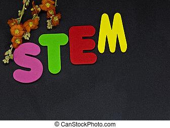 educação, representado, com, letras