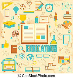 educação, retro, fundo