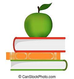 educação, símbolo, -, pilha livros